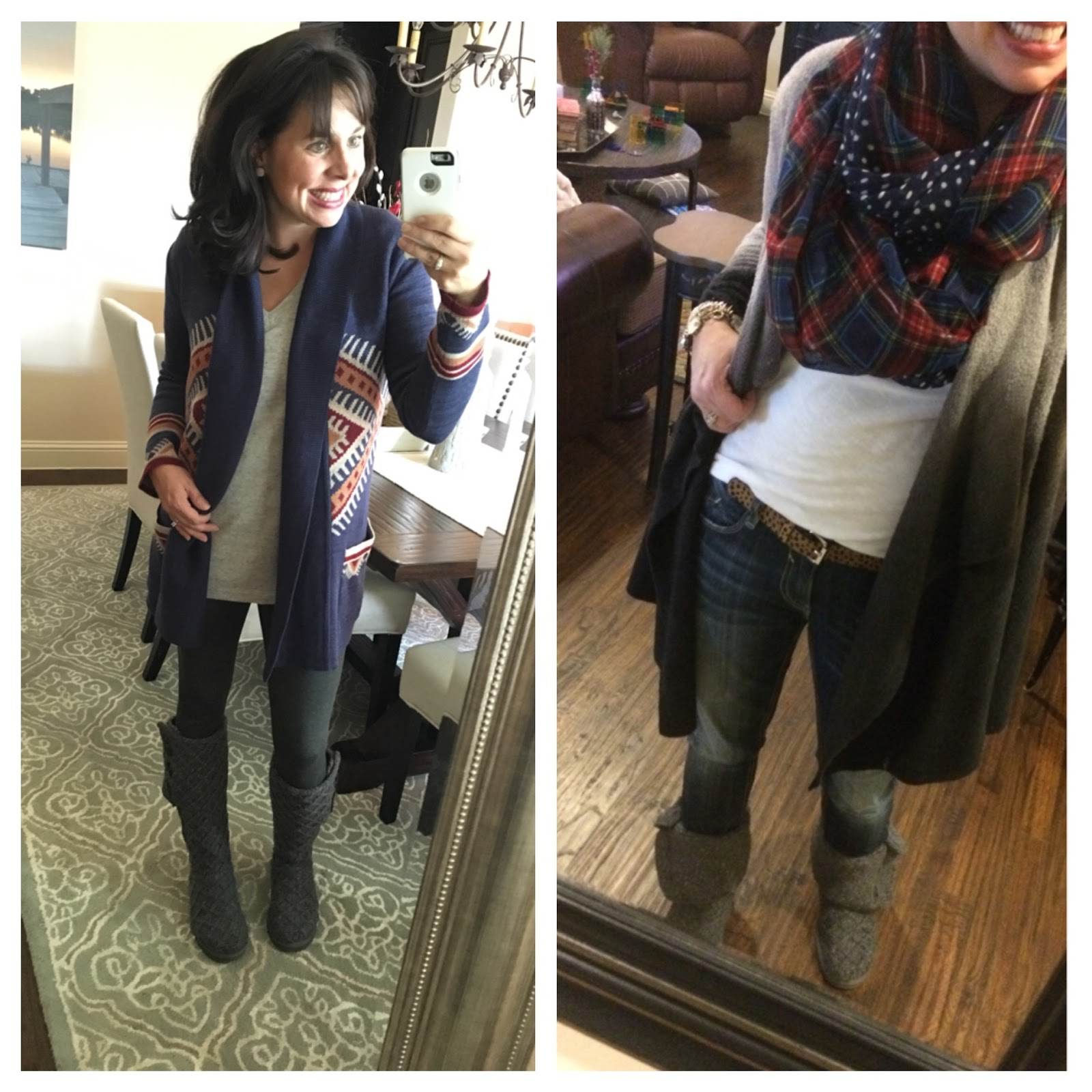 Here I am in an outfit from both this year and least year in my Cardi UGG® boots. Worn tall on the left, and folded short on the right.